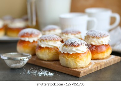 Homemade semla or vastlakukkel (in Estonia) is a traditional sweet roll with whipped cream made in Scandinavic and Baltic countries for Shrove Tuesday or related days