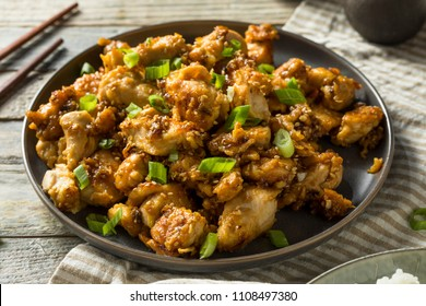 Homemade Sesame Chicken and Rice with Green Onions