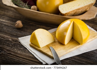 Homemade sheep and cow's cheese from Romania. Farm products from rural areas.