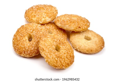 Homemade shortbread cookies, close-up, isolated on white background. High resolution image.