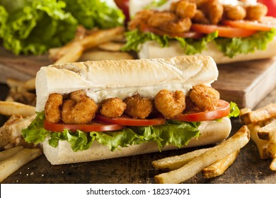 Homemade Shrimp Po Boy Sandwich with French Fries