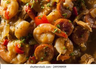 Homemade Shrimp and Sausage Cajun Gumbo Over Rice