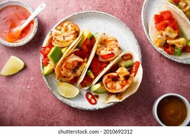 Homemade shrimp taco with avocado