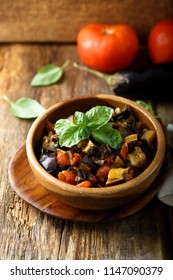 Homemade Sicilian Caponata with fresh green basil