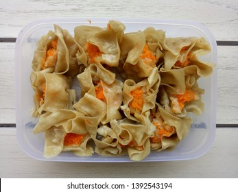 Homemade Siomay/ Shumai made from mixture  of chicken and shrimp meat. Siomay is a type of traditional  chinese dumpling and usually served as a dimsum snack.