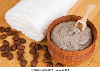 Homemade skin exfoliant (skin scrub) of ground coffee and sour cream