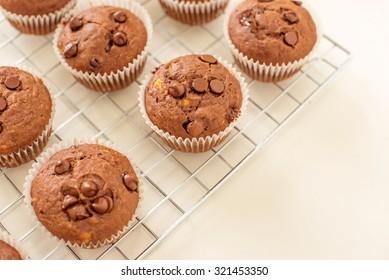 homemade skinny double chocolate banana muffins.
