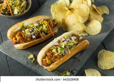 Homemade Slaw Hot Dog with Mustard Chili and Coleslaw