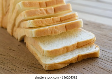 homemade slide bread on the wooden broad