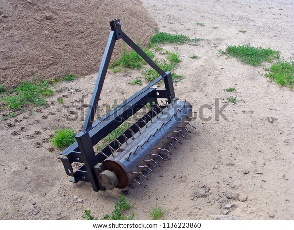 Homemade Small Needle Roller Lawn Aeration Stock Photo Edit Now