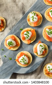 Homemade Smoked Salmon Cocktail Blinis with Creme and Chives
