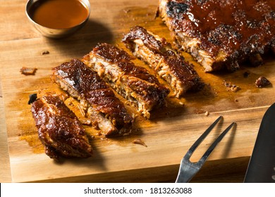 Homemade Smoked St Louis Style Spare Ribs with BBQ Sauce