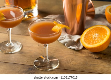 Homemade Smokey Blood and Sand Cocktail with Orange and Scotch
