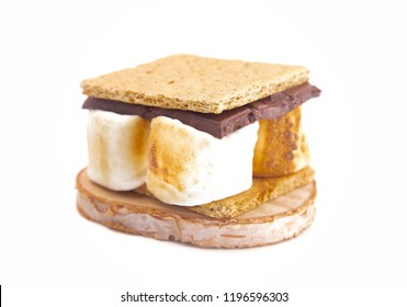 A Homemade Smore Isolated on a White Background