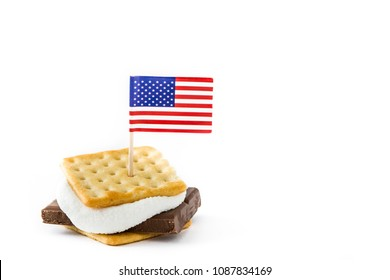 Homemade smores isolated on white background. Copyspace