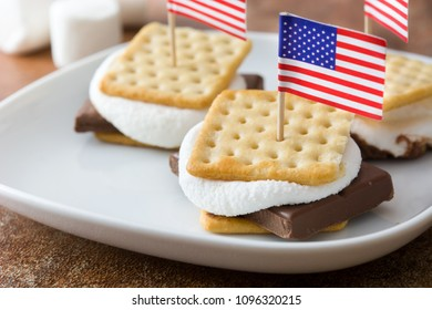Homemade smores on brown background