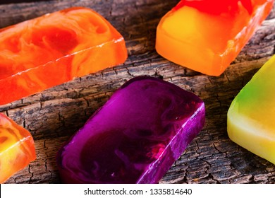 homemade soap bars on wooden background
