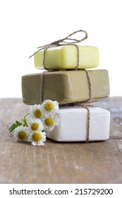 Homemade Soap with chamomile Flowers
