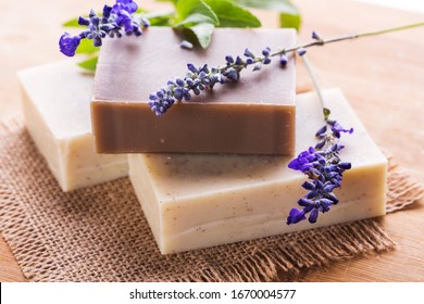 Homemade Soap with Lavender Flowers. Aromatic Natural Soap. - Shutterstock ID 1670004577
