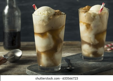 Homemade Soda Black Cow Ice Cream Float with a Straw