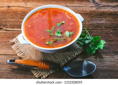 Homemade soup - borscht from vegetables and meat.