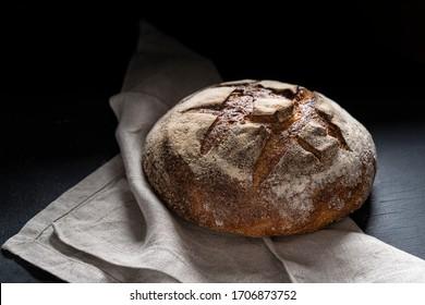 Homemade sourdough whole bread loaf freshly baked