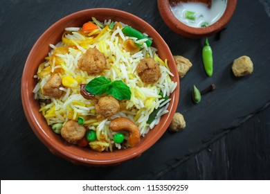 Homemade Soyabean / Soy Chunks biryani or Pulao/ Pilaf in a clay pot