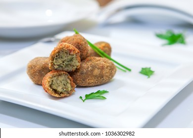 homemade spanish tapa croquette with onion and spinach