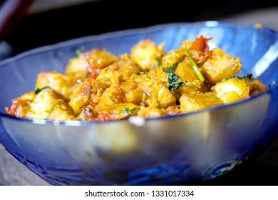 Homemade Spicy Vegan made from banana, kele ki sabji
