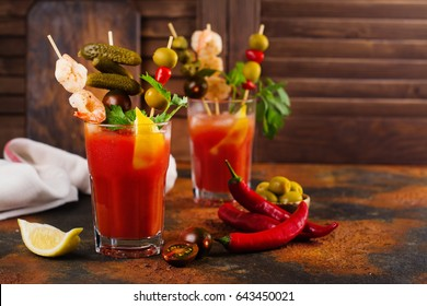 Homemade spicy vodka bloody mary cocktail