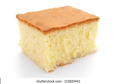 homemade sponge cake on white