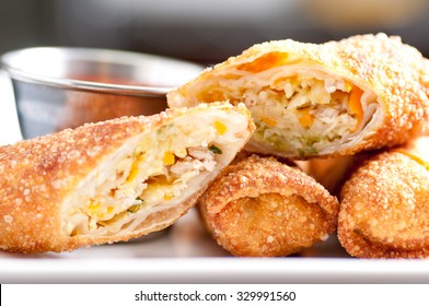 homemade spring rolls or egg rolls stuffed with vegetables stock photo