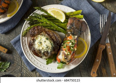 Homemade Steak and Lobster Surf n Turf with Asparagus