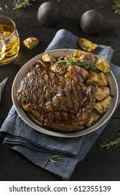 Homemade Steak Potatoes and Whiskey for Dinner