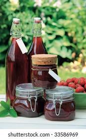 Homemade strawberry jam and squash
