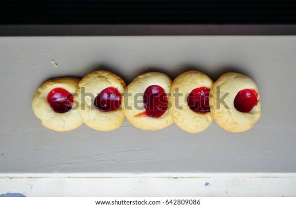 Homemade strawberry jam thumbprint cookies