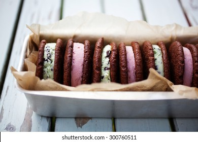 Homemade strawberry and mint ice cream sandwiches