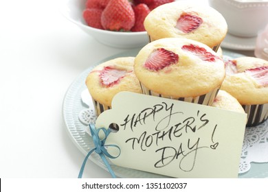 Homemade strawberry muffin and hand written Mother's day card