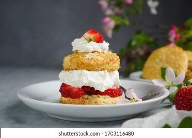 Homemade Strawberry shortcake with stuffed cream topping, selective focus