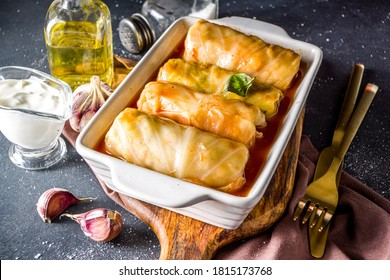 Homemade Stuffed cabbage rolls with sour cream and spices