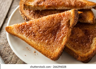 Homemade Sugar and Cinnamon Toast for Breakfast