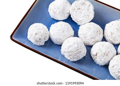 Homemade Sugary Donut Holes Isolated on White Background. Selective focus.