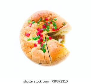 Homemade sweet cake with candied , homestyle pie, round cake with fruit for each day, starchy food, Isolate on white background
