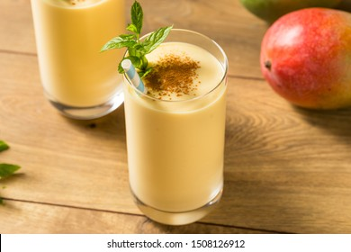 Homemade Sweet Indian Mango Lassi Smoothie with Mint