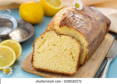 Homemade sweet lemon sponge cake for tea