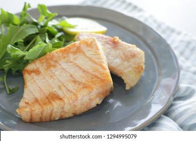 Homemade, sword fish fillet sauteed