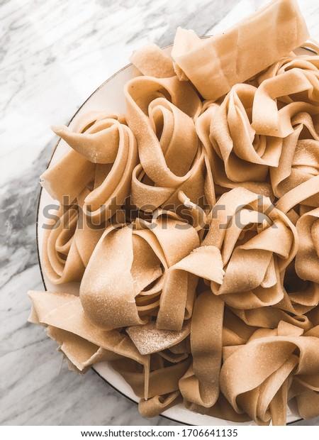 Homemade tagliatelle pasta, Italian food