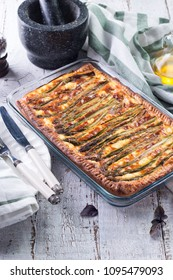 Homemade tart with asparagus and cheese.
