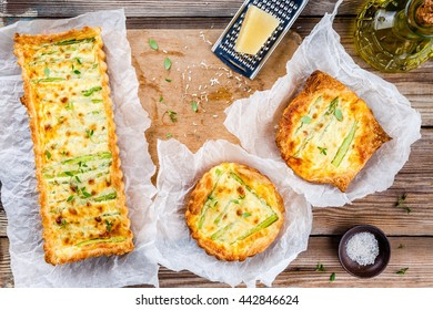 homemade tart with asparagus and cream with Parmesan and thyme