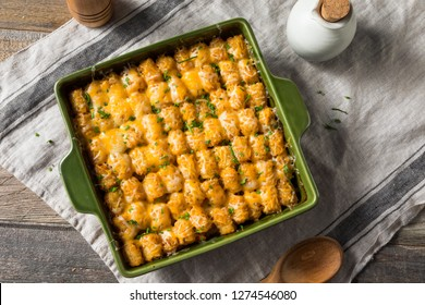 Homemade Tater Tot Hotdish Casserole with Beef and Cheese